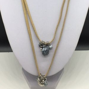 Chico's Tan Brown Leather Necklace Blue Beaded